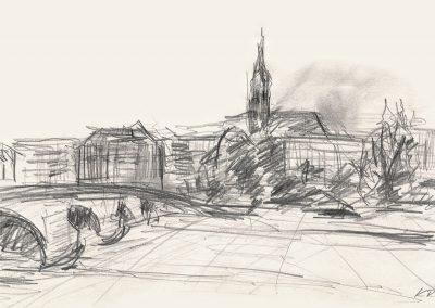 Blick zum Blockhaus und Dreikönigskirche Dresdenclhaus und Dreikönigskirche